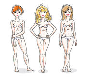 Young beautiful women standing in white underwear. Vector set of Royalty Free Stock Images