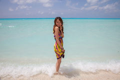 Young beautiful women on the sunny tropical beach Stock Photo