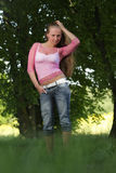 Young beautifull woman in the park. Stock Photo