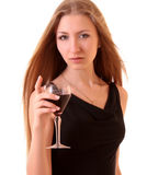 Young beautifull woman with wine glass Stock Photos