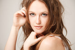 Young beautilul woman close-up Royalty Free Stock Image