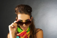 Young beauty. Portrait of young beauty in big sunglasses Royalty Free Stock Photos