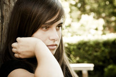 Young beauty. Young beautiful woman portrait, sad expression Royalty Free Stock Image