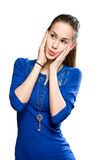 Young beauty in amazed gesture. Royalty Free Stock Image