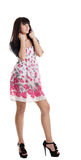 Young beauty brunette in summer dress and jacket Stock Photos