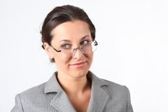 Young beauty business woman in glasses Stock Photos