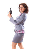 Young beauty business woman with gun. Isolated on white Stock Photos