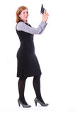 Young beauty business woman with gun Stock Image