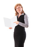 Young beauty business woman showing document Stock Photography