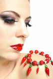 Young beauty female face with red lips make-up Royalty Free Stock Photography