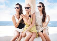 Young beauty friends. On vacation day Royalty Free Stock Images