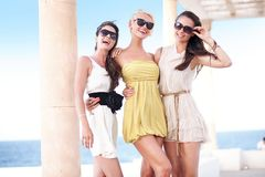 Young beauty friends. On vacation day Stock Photo