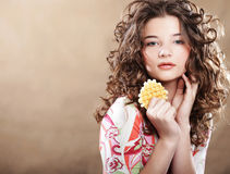 Young beauty girl with cake Stock Image