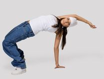 Young beauty girl dance hip hop. Young beauty girl like tomboy dance hip hop - break dance stock photo