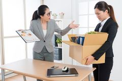Young beauty girl office worker losing company job stock image
