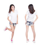 Young beauty girl show blank white shirt stock photography