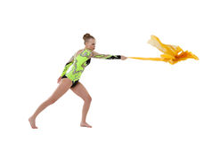 Young beauty gymnast fight with flying fabric Stock Image