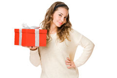 Young beauty holding gift boxing. Stock Photos
