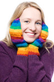Young beauty laugh woman in colorful gloves Royalty Free Stock Photography