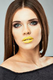 Young beauty model. Beauty face woman close up Stock Photo