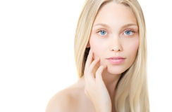 Young Beauty Model with Perfect Fresh Skin. Youth and Skin Care Concept. Spa and Wellness, Make up and Hair. Selected focus Stock Photos