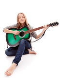 Beautiful girl with guitar  on white background Royalty Free Stock Photos