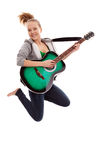 Beautiful girl with guitar on white background. Young beauty music girl with guitar on white background royalty free stock image
