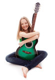 Beautiful girl with guitar  on white background. Young beauty music girl with guitar on white background Royalty Free Stock Photography