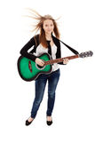 Beautiful girl with guitar  on white background. Young beauty music girl with guitar on white background royalty free stock photos