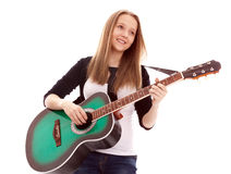 Beautiful girl with guitar on white background. Young beauty music girl with guitar on white background stock images