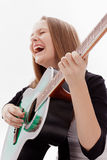 Beautiful girl with guitar  on white background Stock Image