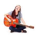 Young beauty music girl with guitar Royalty Free Stock Photos