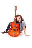 Young beauty music girl with guitar Stock Photography