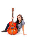 Young beauty music girl with guitar Royalty Free Stock Images