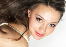 Young beauty portrait. Glance of young beauty brunette Royalty Free Stock Photo