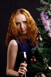 Young beauty red woman and christmas tree Stock Images