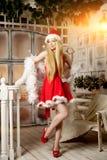 Young beauty santa woman near the Christmas tree. Fashionable lu Royalty Free Stock Photos