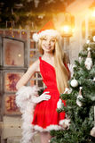 Young beauty santa woman near the Christmas tree. Fashionable lu Royalty Free Stock Photo