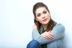 Young beauty seating woman casual style dressed. Royalty Free Stock Photo