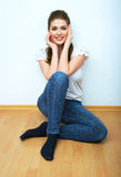 Young beauty seating woman casual style dressed. Stock Image