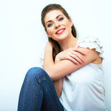 Young beauty seating woman casual style dressed. Stock Images
