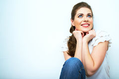 Young beauty seating woman casual style dressed. Stock Photo
