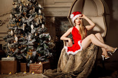 Young beauty smiling santa woman near the Christmas tree. Fashio Stock Photos
