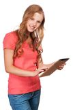 Young beauty student girl with tablet Royalty Free Stock Photos