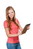 Young beauty student girl with tablet Stock Photography