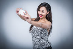 Young Beauty Taking Selfie With Smartphone Royalty Free Stock Photos