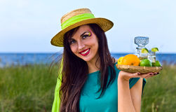 Young beauty with tequila Royalty Free Stock Images