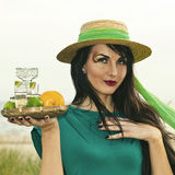Young beauty with tequila Royalty Free Stock Photos