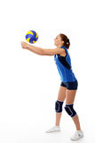 Young, beauty volleyball player. Isolated on white in studio Royalty Free Stock Photography