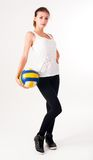 Young  beauty volleyball player Stock Photos